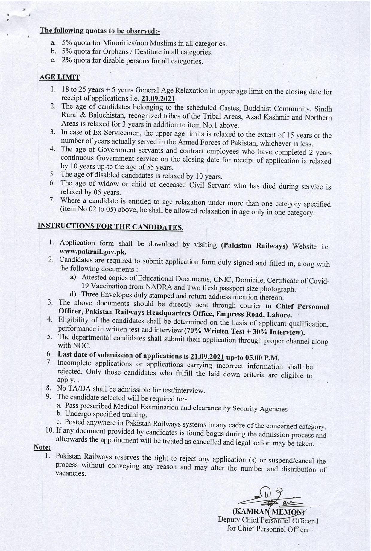Pakistan Railways Jobs 2021 Advertisement