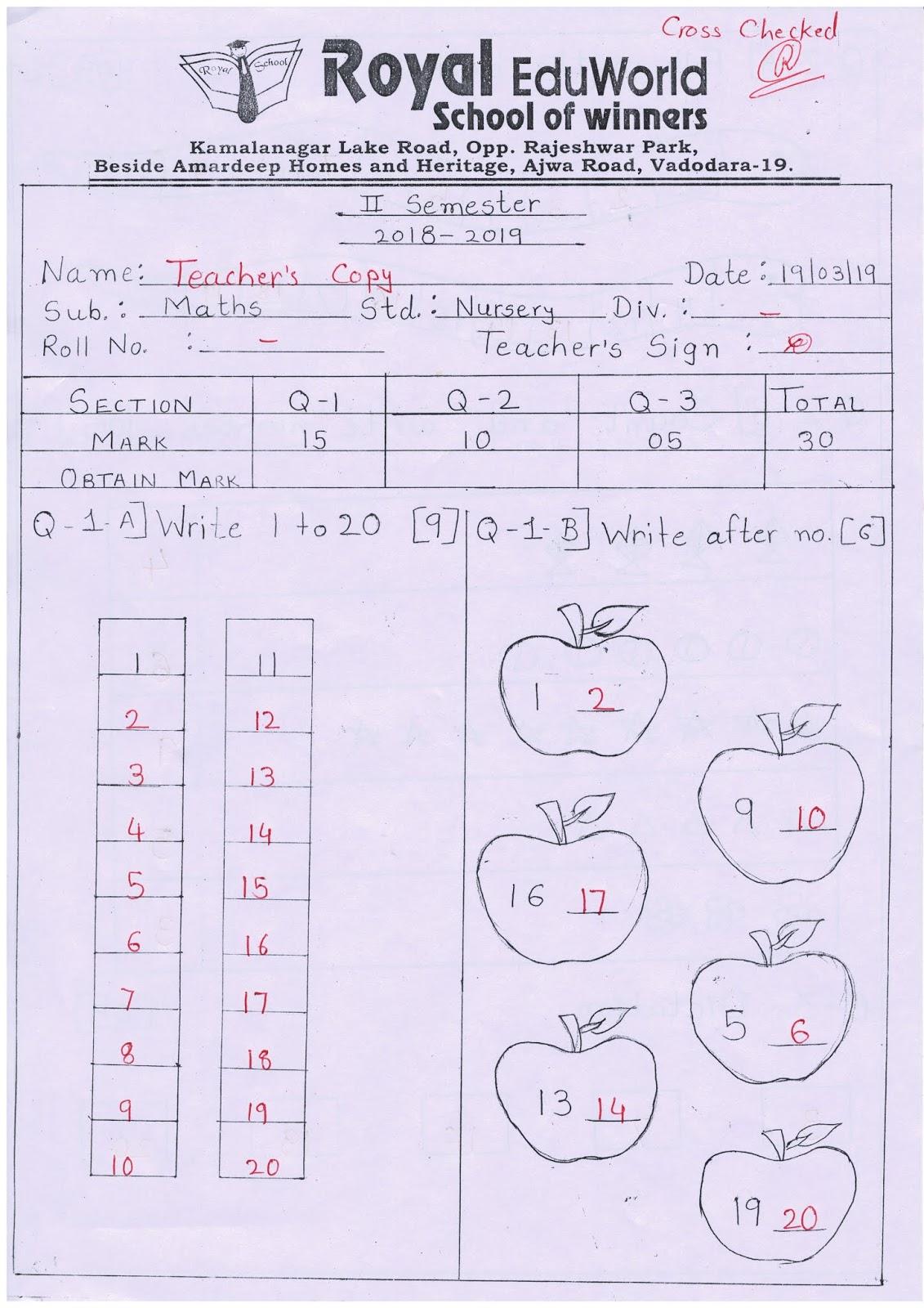 Nursery Unit Test Paper Maths