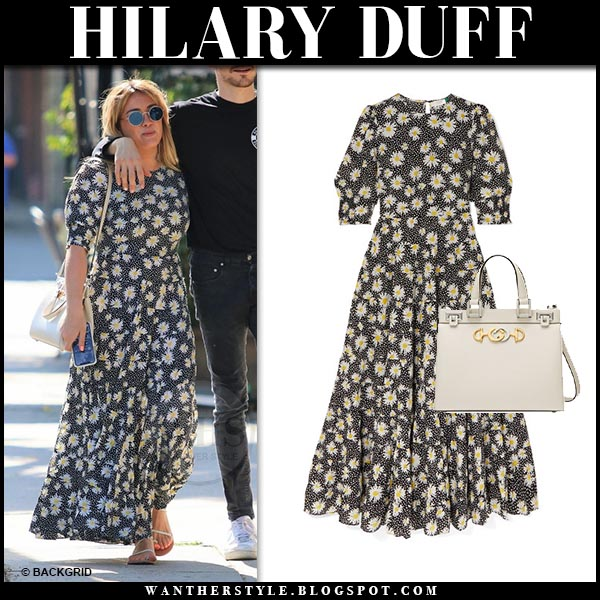 Hilary Duff in floral print Rixo maxi dress with white Gucci zumi bag. Celebrity summer style june 13