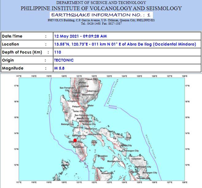 Magnitude 5.8 earthquake hits Occidental Mindoro; tremor felt in Metro Manila