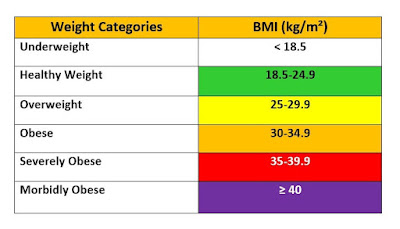 BMI ranges, BMI chart