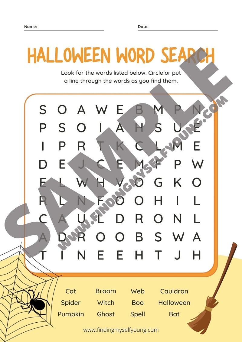 free halloween word search activity