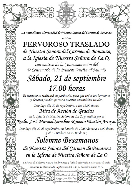 cartel misa besamanos carmen bonanza