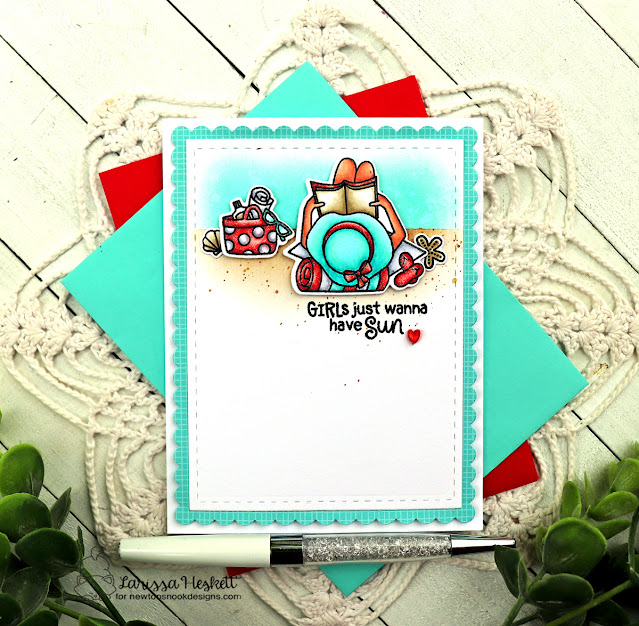 Reading on the Beach Card by Larissa Heskett | Summer Moments Stamp Set by Newton's Nook Designs #newtonsnook