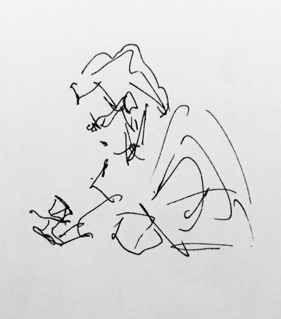 Pen and ink drawing of woman looking down intently at phone.