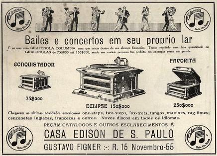 Loja especializada em gramofones em 1916 na cidade de São Paulo