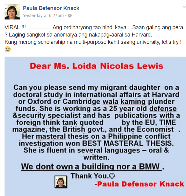 Miriam Santiago's sister shades Leni and asks Loida Lewis for daughter's scholarship