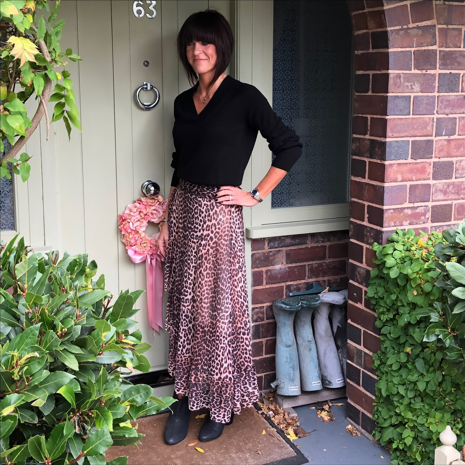 my midlife fashion, house of fraser, biba cashmere v neck jumper, ganni leopard print ruffle maxi skirt, ash block heel ankle boots