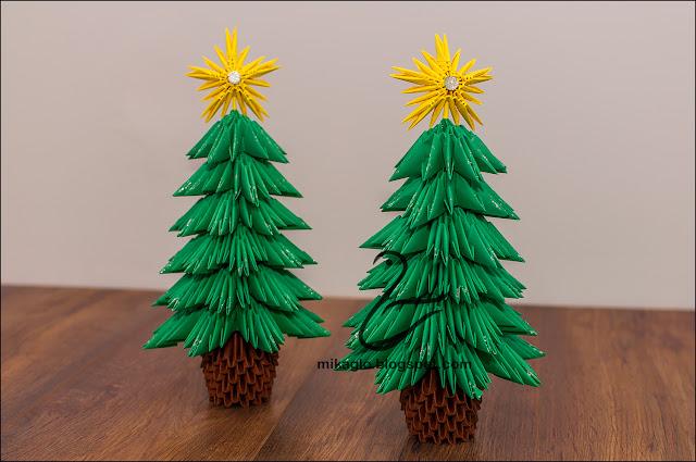 695. Choinki z origami / 3d origami christmas trees