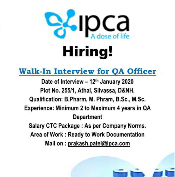 IPCA Laboratories walk-in interview for Quality Assurance on 12th Jan' 2020