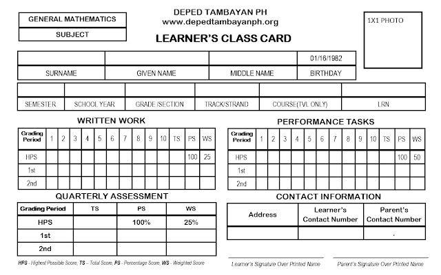 Editable LEARNER'S CLASS CARD for Senior High School in Publisher Format