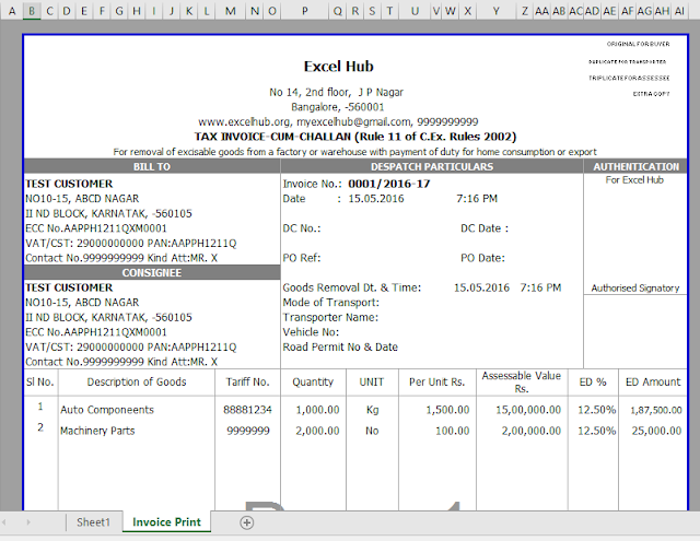 Central Excise Invoice in excel