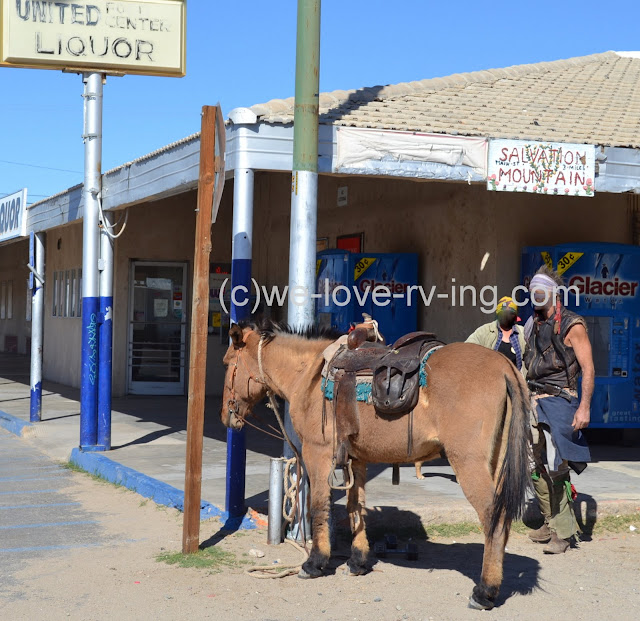 Horse and cowboy were seen at local store down the road from Slab City