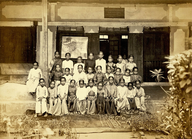 Students of the Bhagwandas Purshottum Girls' School, Bombay (Mumbai) - 1873