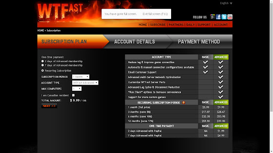 WTFast Advanced cost $9.99 US Dollars a month as well