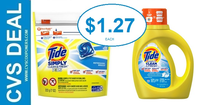 Tide Simply Detergent CVS Deal $1.27 1-5-1-11