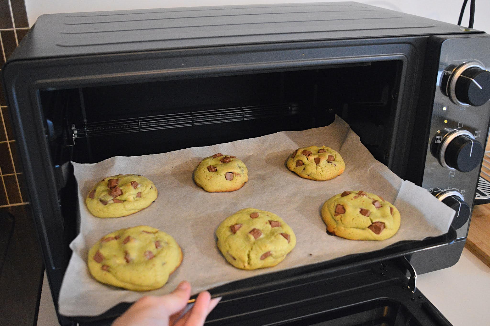 Cookies matcha cuisson