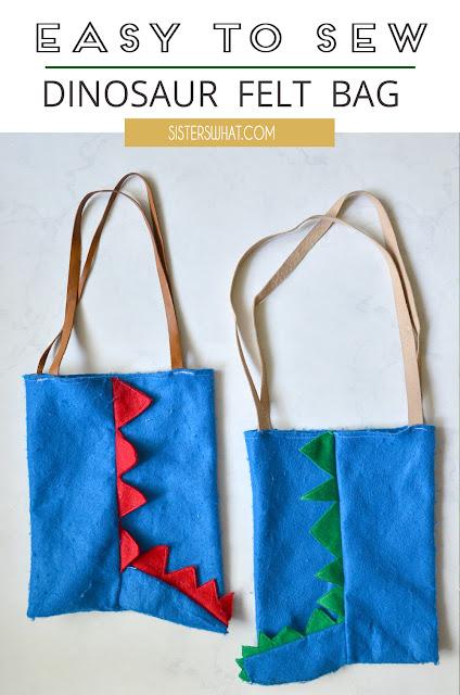 easy to sew dinosaur felt bag
