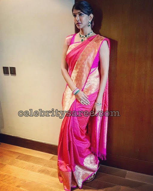 Lakshmi Manchu Pink Benaras Saree