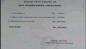 Di Tengah Korban Covid-19 Bertambah, Beredar Biaya Rapid Test di UPT Puskesmas Cikajang