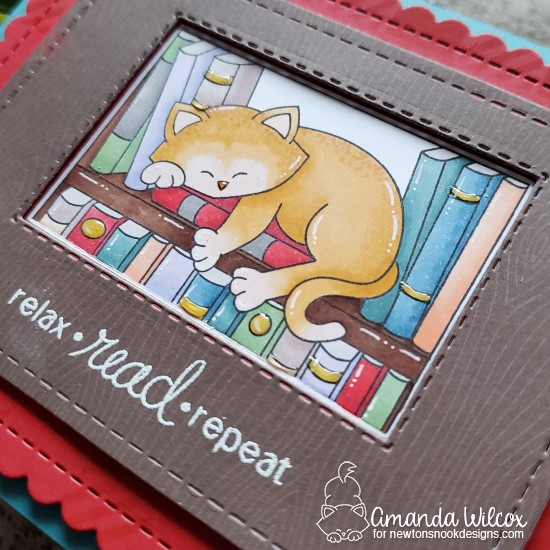 Relax, Read, Repeat Card by Amanda Wilcox | Newton's Book Club Stamp Set, Frames & Flags Die Set and Gingham Stencil by Newton's Nook Designs #newtonsnook #handmade