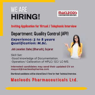 Macleods Pharmaceuticals Ltd Jobs Opening for QC Department   Virtual / Telephonic Interview