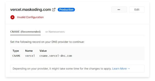 Invalid Configuration saat input domain di vercel