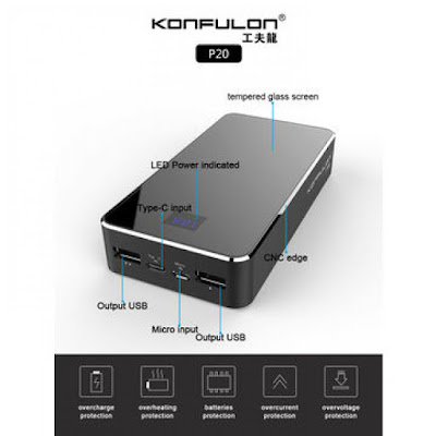 باوربانك كونفيلون (P20) بطارية شحن متنقلة 20000 Power Bank Konfulon