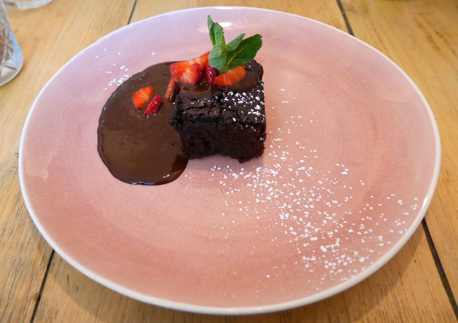 Chocolate brownie for dessert at The Skinny Kitchen in Canterbury, Kent
