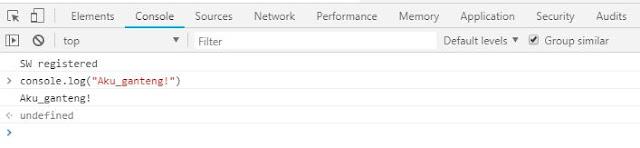 Tampilan di console Browser