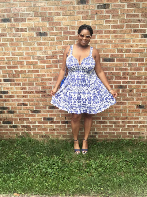 fashion, plus size fashion, charlotte russe, blue dress, china ware, bcbg,