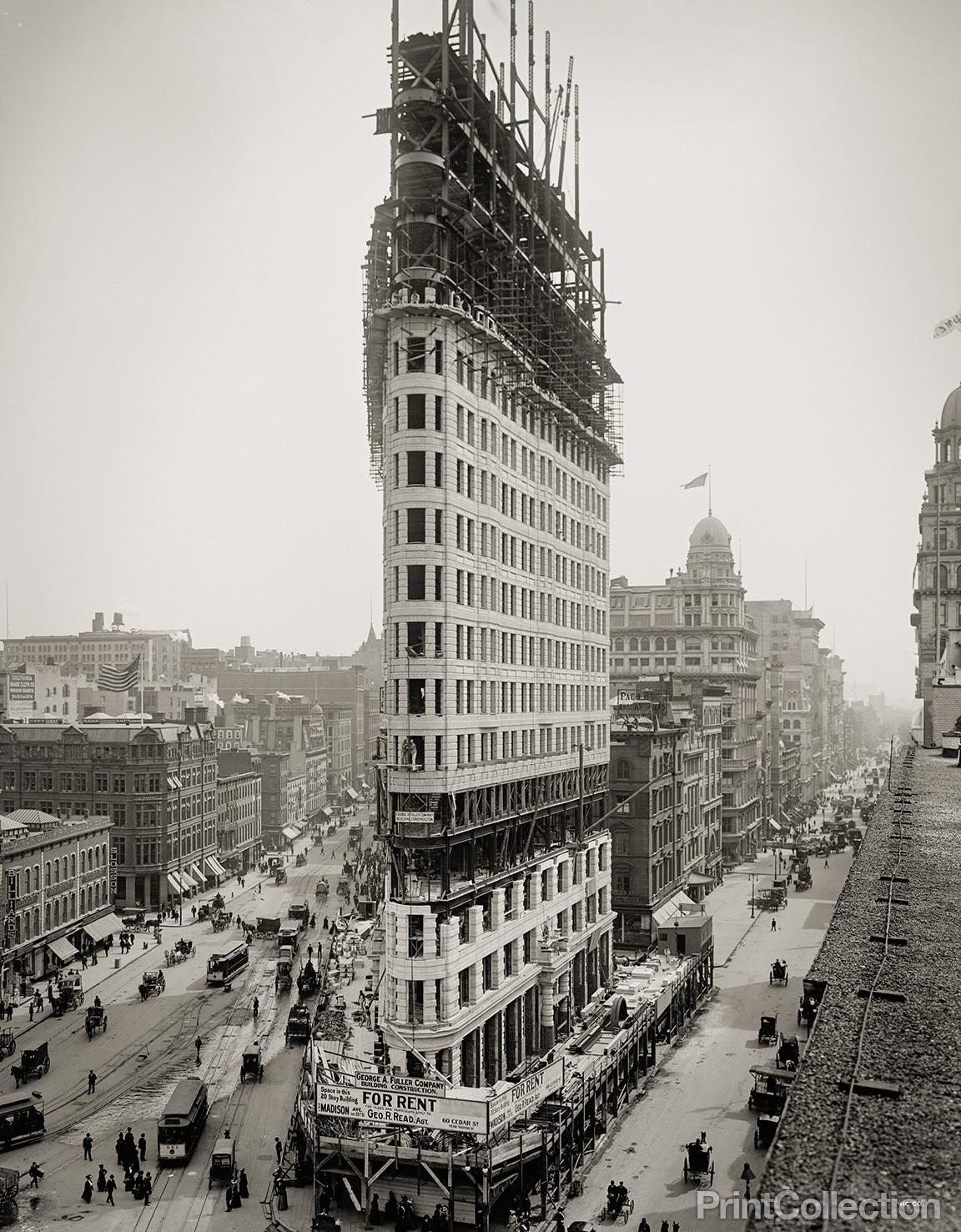 old photos of the flatiron building under construction new york city 1902 vintage everyday. Black Bedroom Furniture Sets. Home Design Ideas