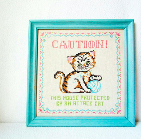 Cat cross stitch - I would kill to own this!