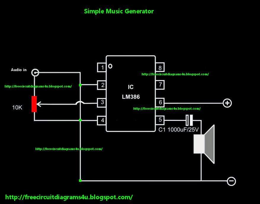 FREE CIRCUIT DIAGRAMS 4U: Simple Music Generator