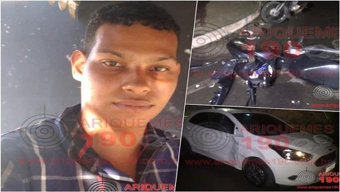 Grave acidente entre motocicleta e carro deixa uma vítima fatal