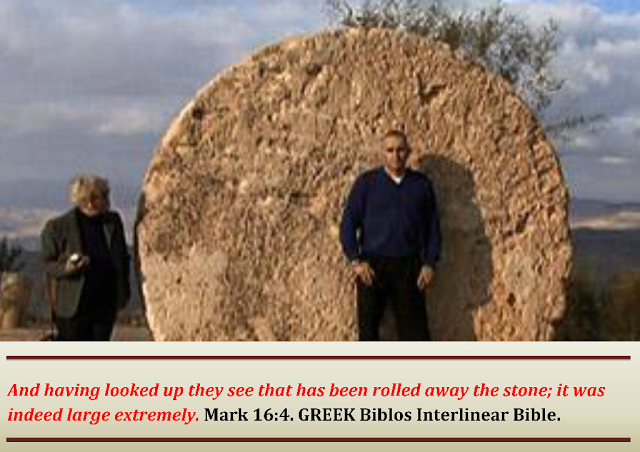 King James Bible And when they looked, they saw that the stone was rolled away: for it was very great. Mark 16:4