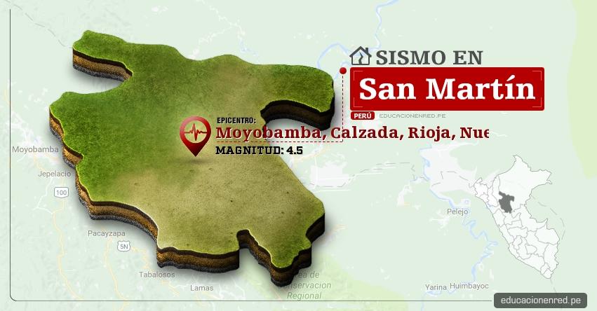 Temblor en San Martín de 4.5 Grados (Hoy Miércoles 22 Febrero 2017) Sismo EPICENTRO Moyobamba, Calzada, Rioja, Nueva Cajamarca, Alto Mayo - IGP - www.igp.gob.pe