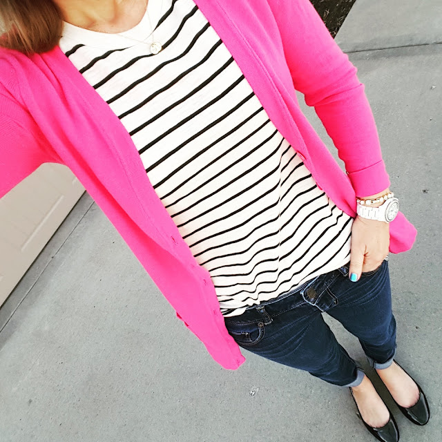 Old Navy Boyfriend Cardigan (this year's version - on sale for $9!, similar in pink) // Mossimo Tee // American Eagle Jeans (same in crops) // Steve Madden Flats // Fossil Watch (similar) // ILY Couture Bracelet (similar only $9, regular $30!)
