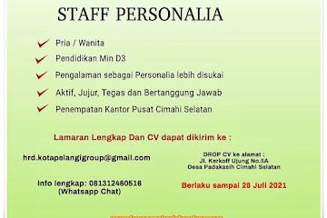 Lowongan Kerja Staf Personalia Kota Pelang Group