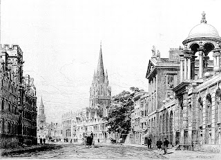 An historical etching of Oxford High Street with a church spire in the distance at the centre and fine classical architecture on both sides of the wide street. The figures of people and a horse-drawn vehicle can be made out.