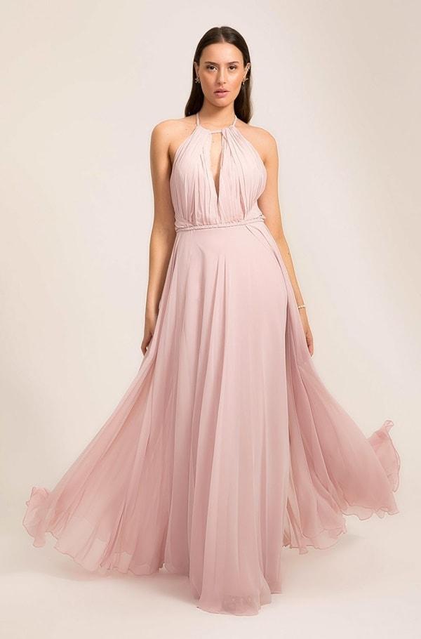 vestido longo rose simples para madrinha de casamento