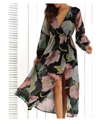 Maxi vestido  con estampado de flores y manga larga