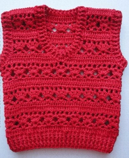 Red crochet vest with free standard