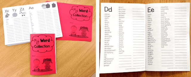 Photos of two levels of student dictionaries showing the inside pages.