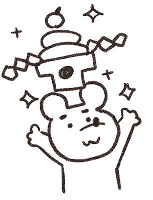 鏡餅を掲げるネズミのイラスト(子年)白黒線画