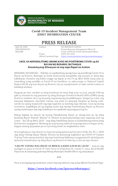 Official Press Release LGU Rosario, Batangas 2020-04-20