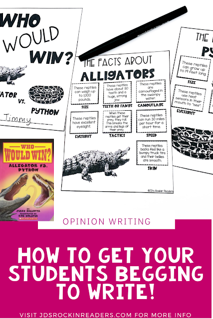 "Getting your students to enjoy opinion writing can happen using Who Would Win Books!  The teacher uses this mentor text and reads everything but the ""battle"" at the end!  The first grade, second grade, or third grade students will use graphic organizers to plan their writing using the facts they learned about each animal.  The book activities provided in this lesson plan are easy prep and fun for the students!  Check it out now! (#jdsrockinreaders #opinion writing)"