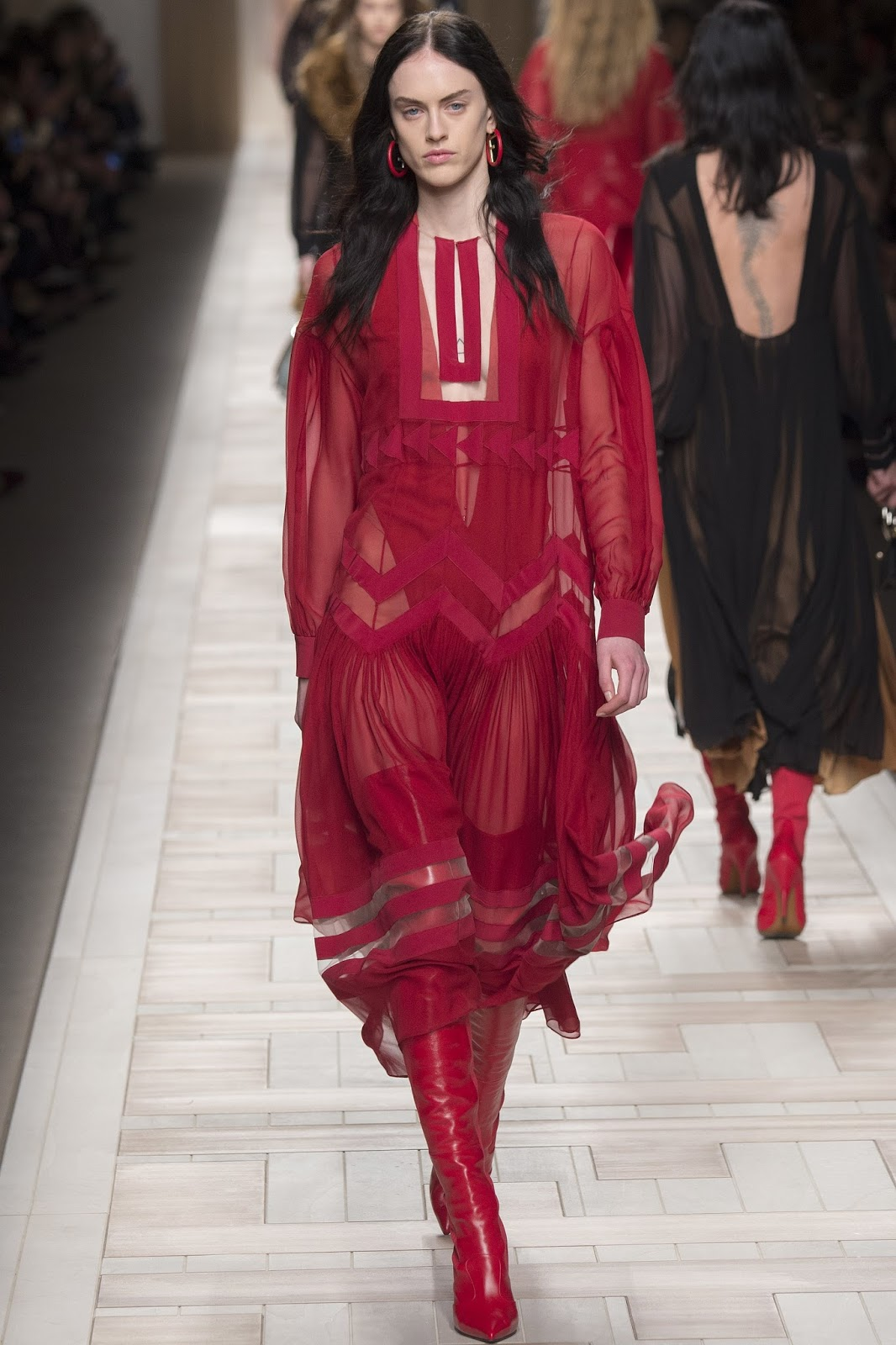 MFW, Autumn/Winter 2017, Fall, red sheer dress