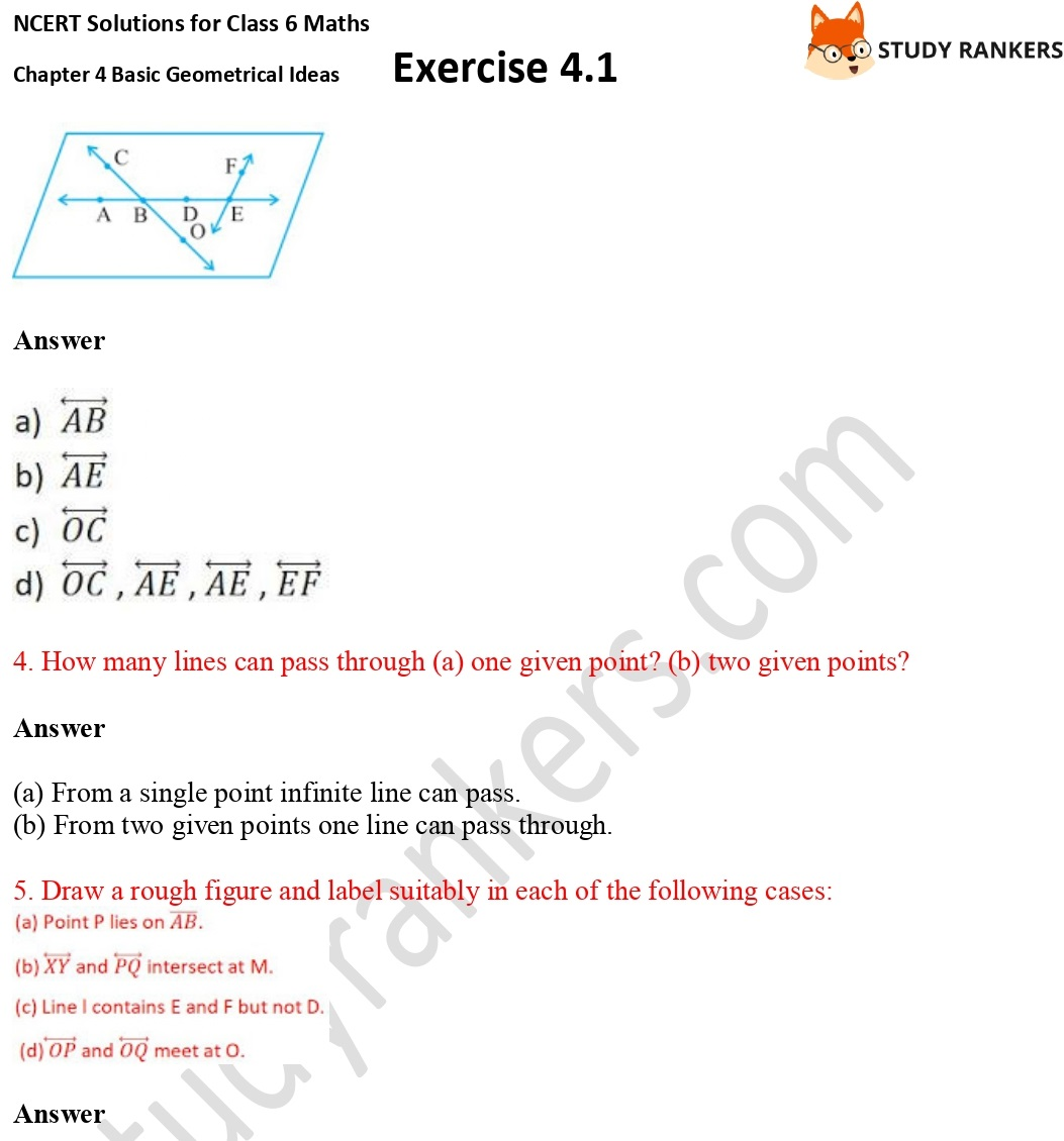 NCERT Solutions for Class 6 Maths Chapter 4 Basic Geometrical Ideas Exercise 4.1 Part 2