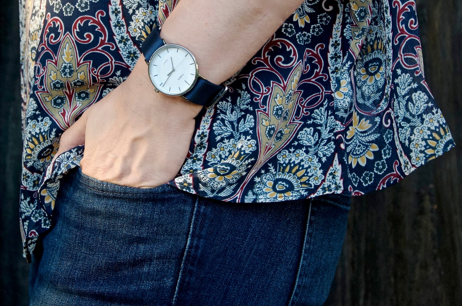 Timex weekender fairfield watch in navy blue with jeans and paisley top